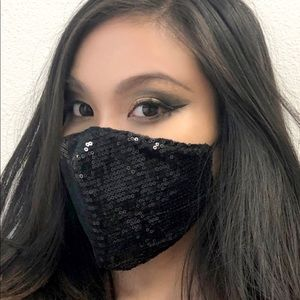 Fashion Bling Black Sequin Face Mask